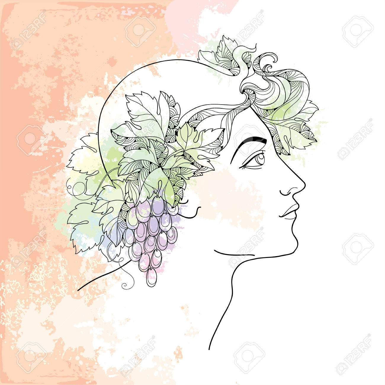 Mythological dionysus or bacchus in contour style on the beige mythological dionysus or bacchus in contour style on the beige background with blots in pastel colors buycottarizona
