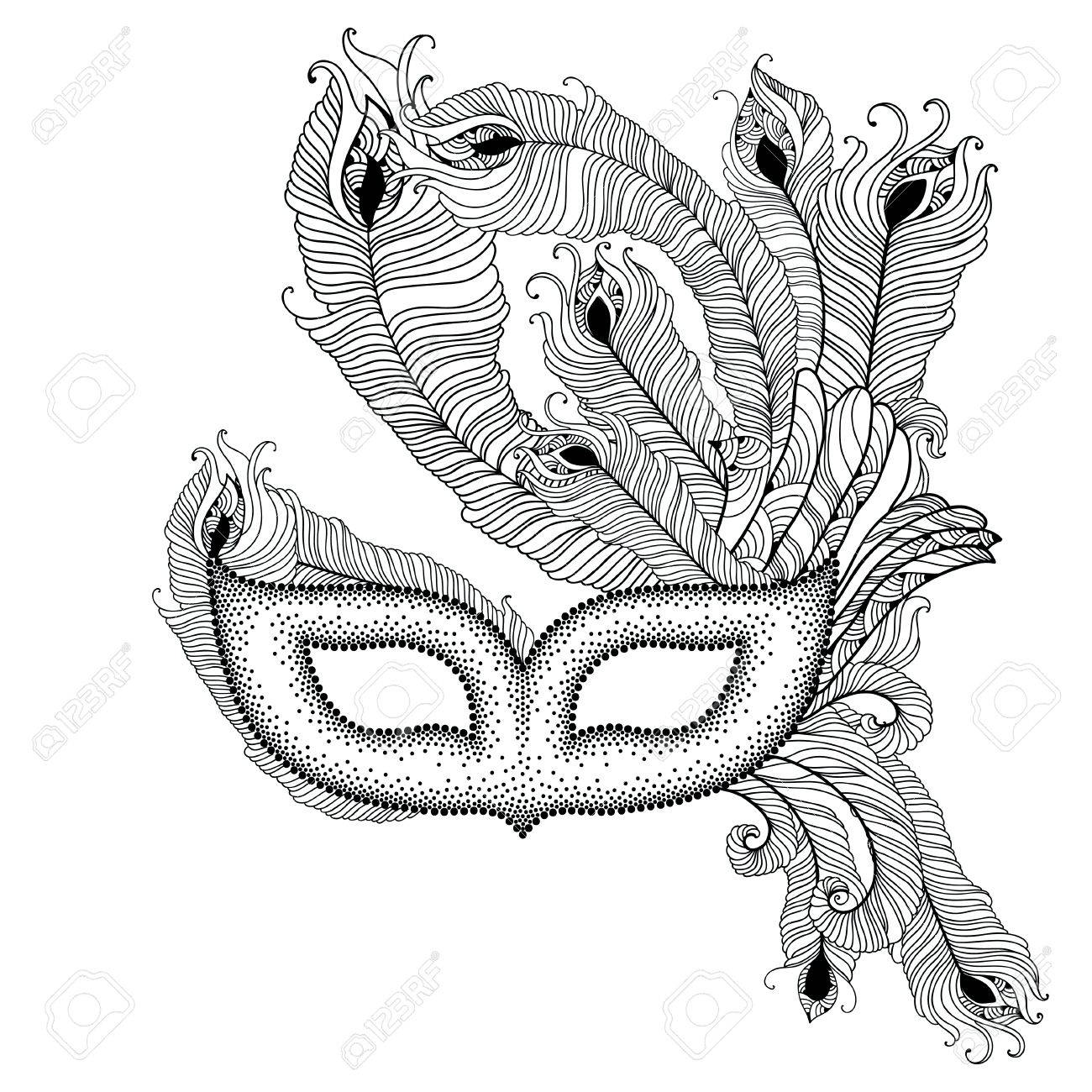 dotted venetian carnival mask colombina with outline peacock