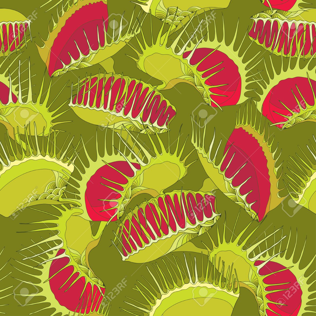 Seamless pattern with Venus Flytrap or Dionaea muscipula on the