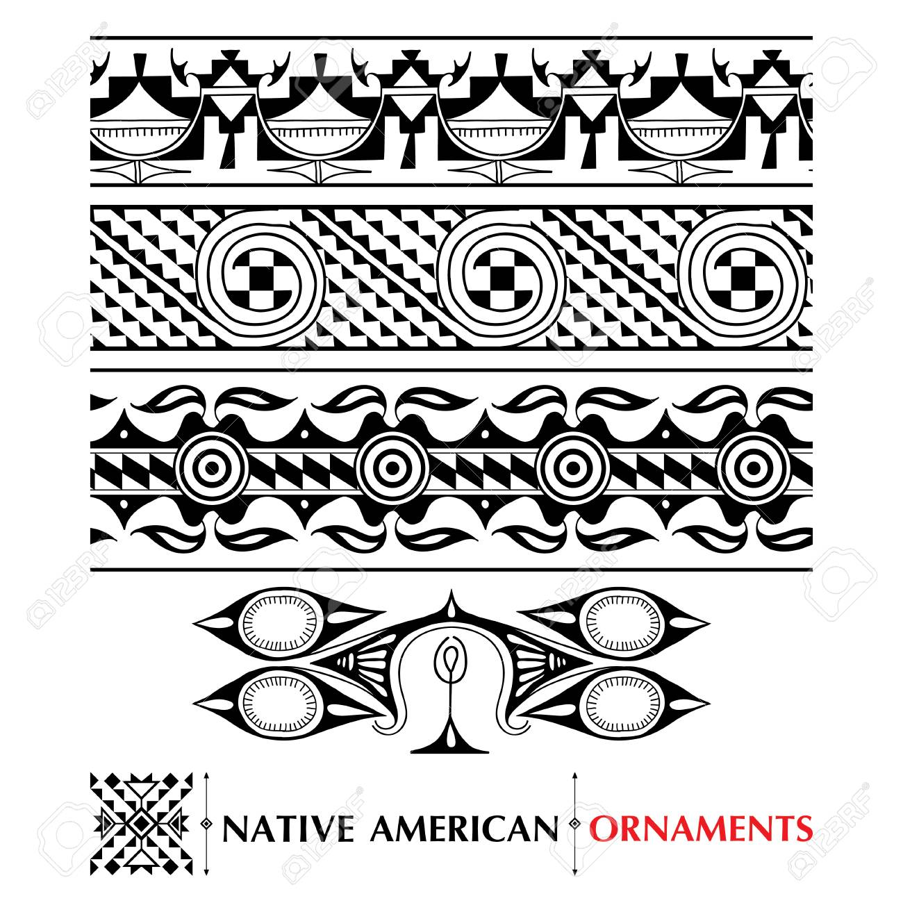 collection with Native American seamless pattern isolated on