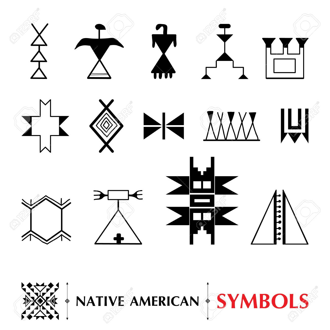 Collection with native american symbols isolated on white collection with native american symbols isolated on white background ethnic ornament elements set of buycottarizona