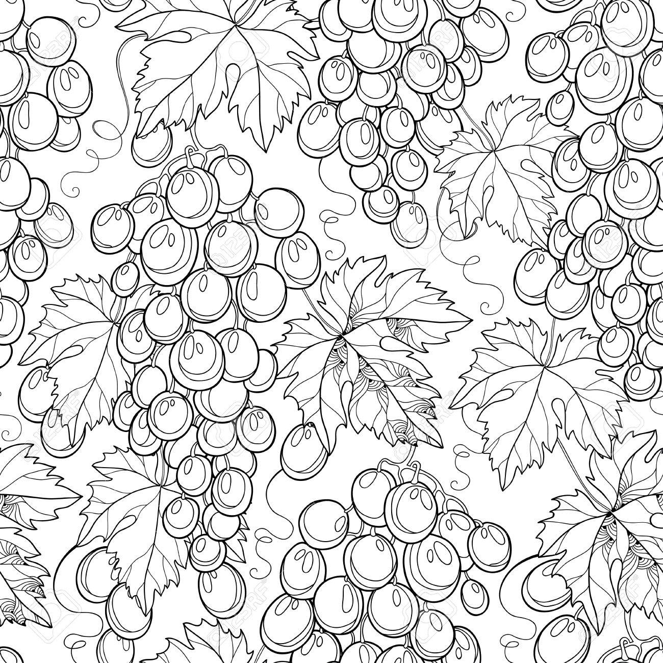 Vector Seamless Pattern With Bunch Of Grape And Grape Leaves ...