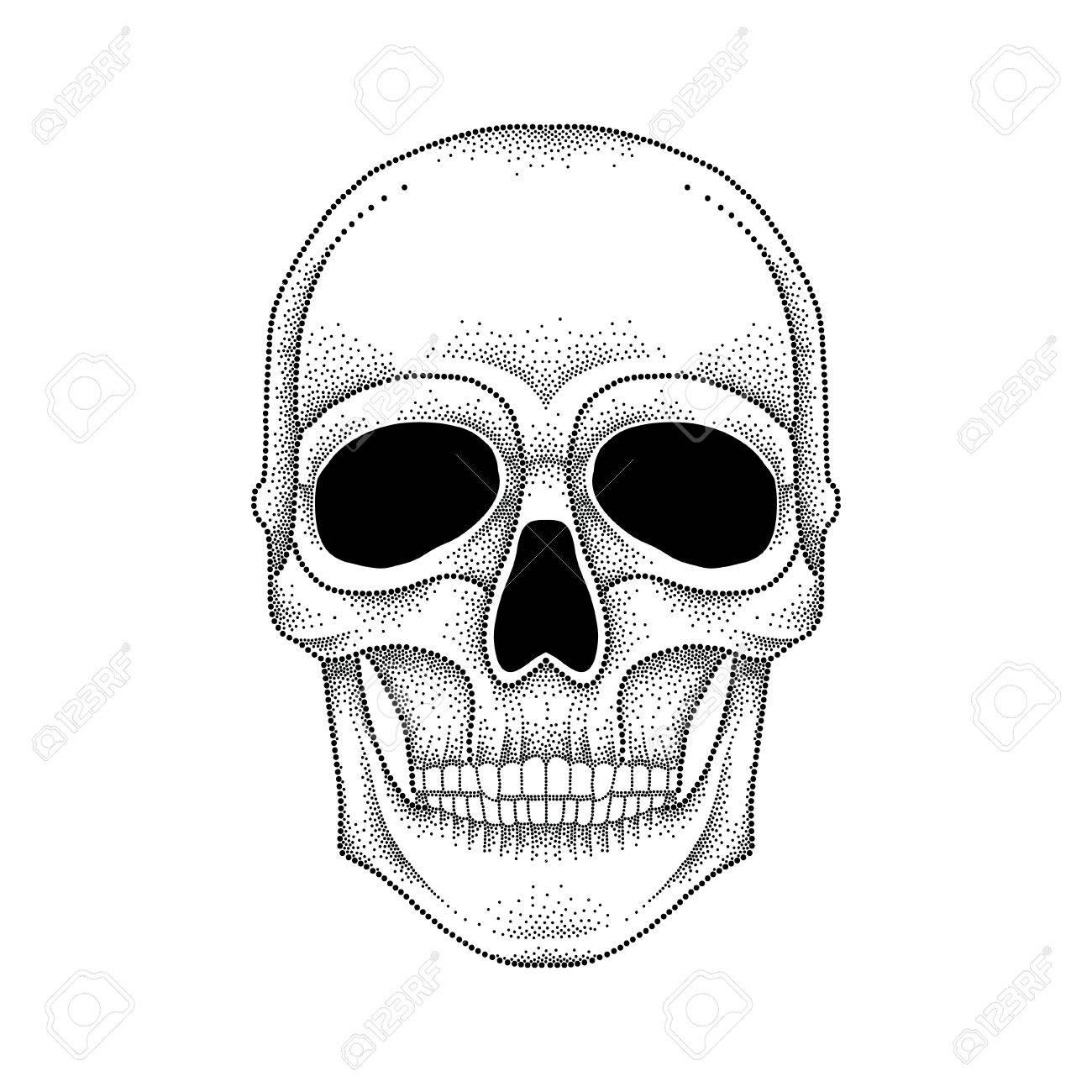 Diseno Para Hacer Tattoo ilustración del vector del cráneo de puntos en negro sobre fondo