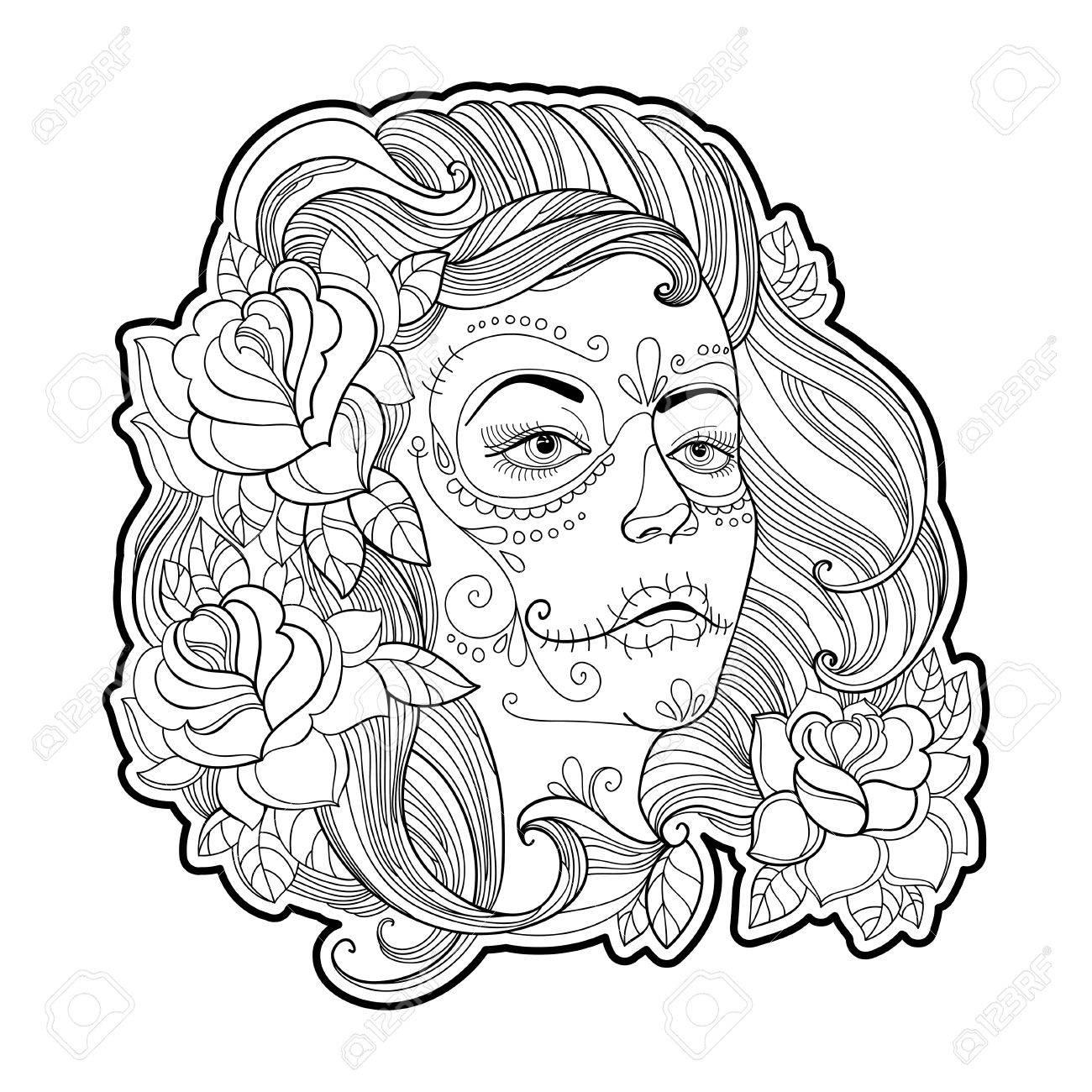 Girl Face With Sugar Skull Or Calavera Catrina Makeup And Roses