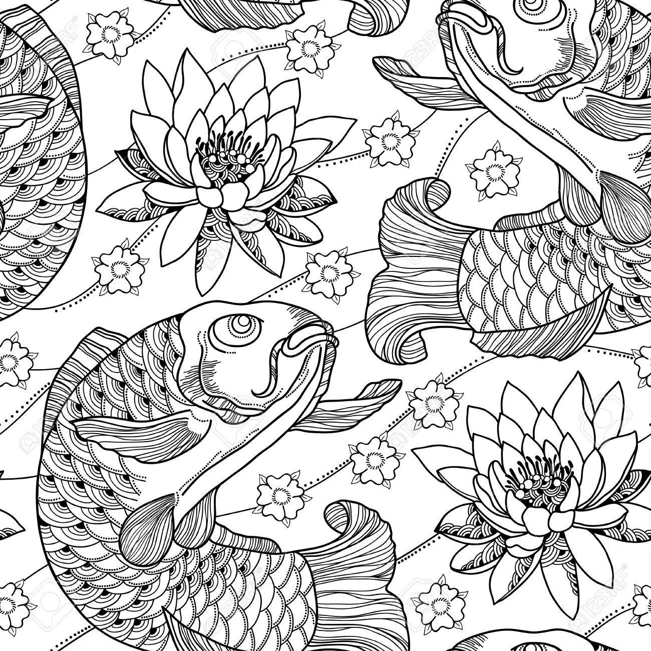Coloriage Fleur De Nenuphar.Seamless Contour Carpe Koi Et Lotus Ou Nenuphar En Noir Sur Fond Blanc Poissons Orne Japonais Et De Fleurs Dans Le Style De Contour Pour Livre De