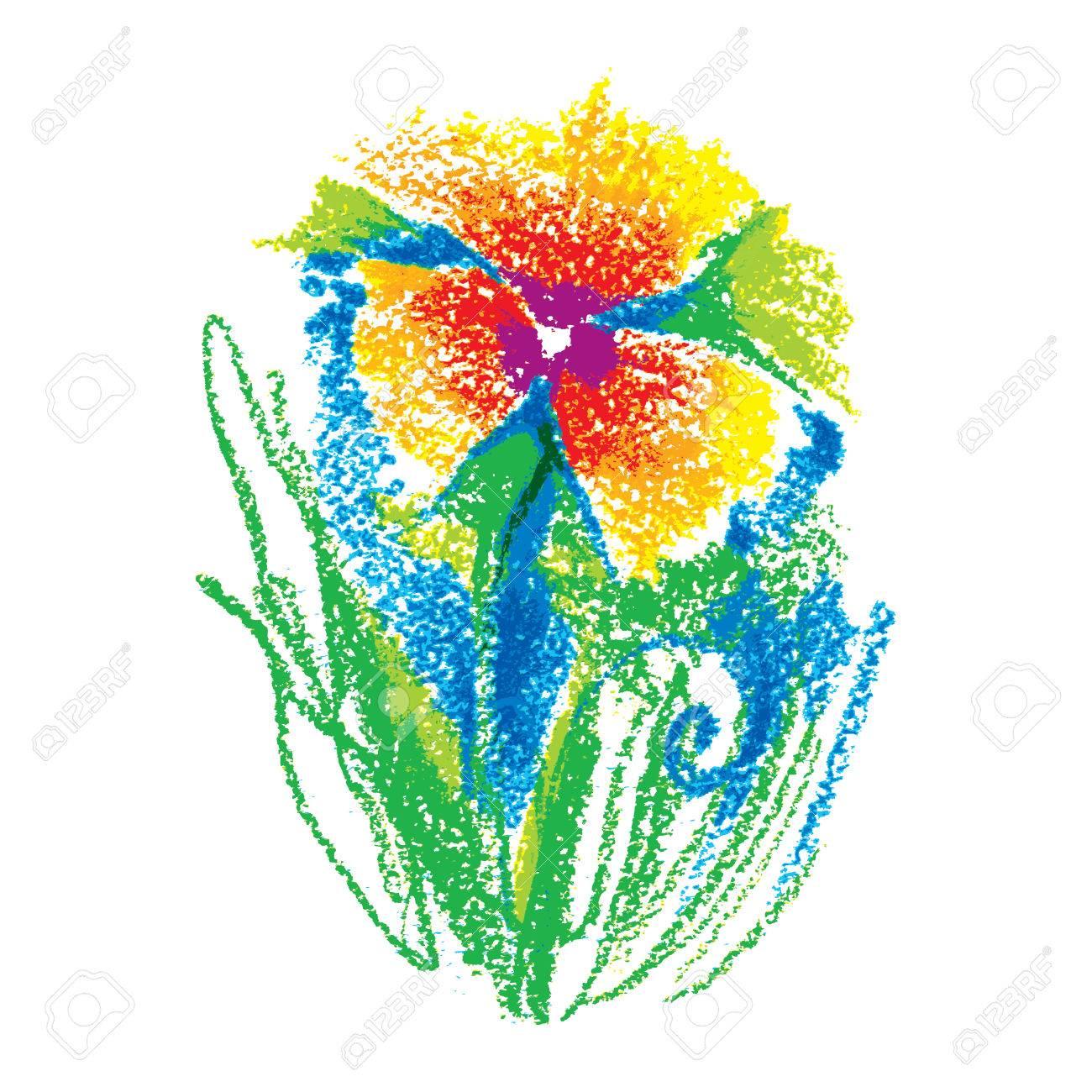 Ejemplo En Colores Pastel Del Aceite De Niño Flor Estilizada Aislado ...