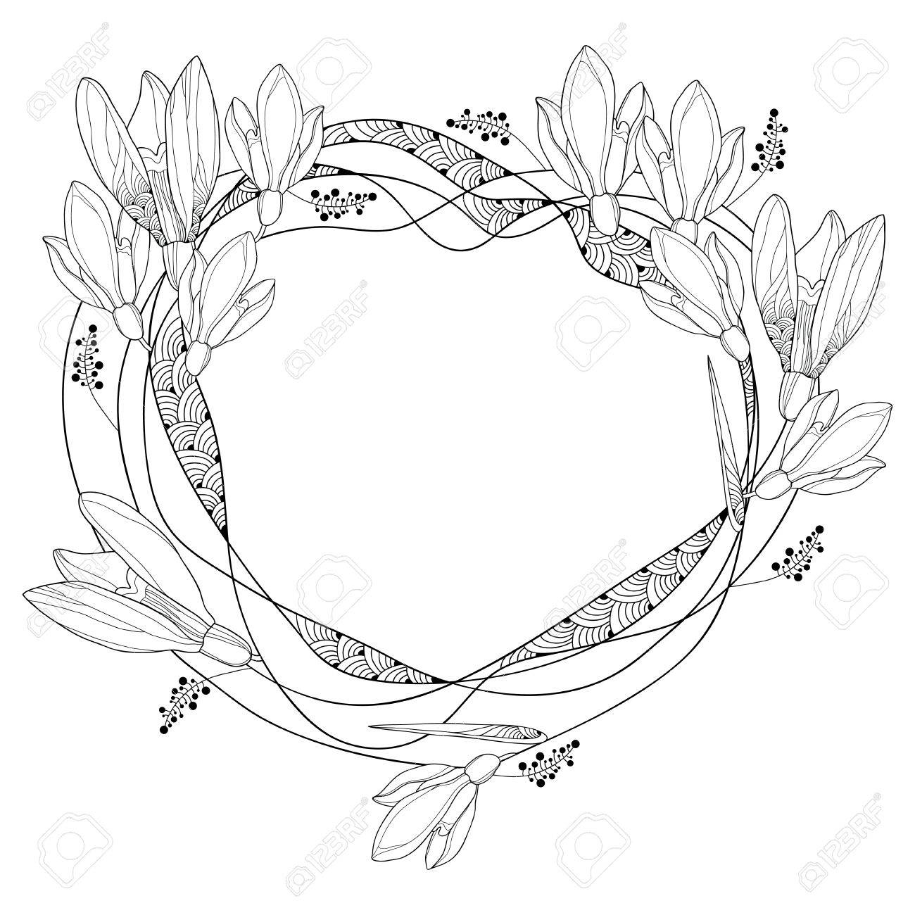 Round frame with ornate outline snowdrop flowers or galanthus round frame with ornate outline snowdrop flowers or galanthus isolated on white background floral elements mightylinksfo