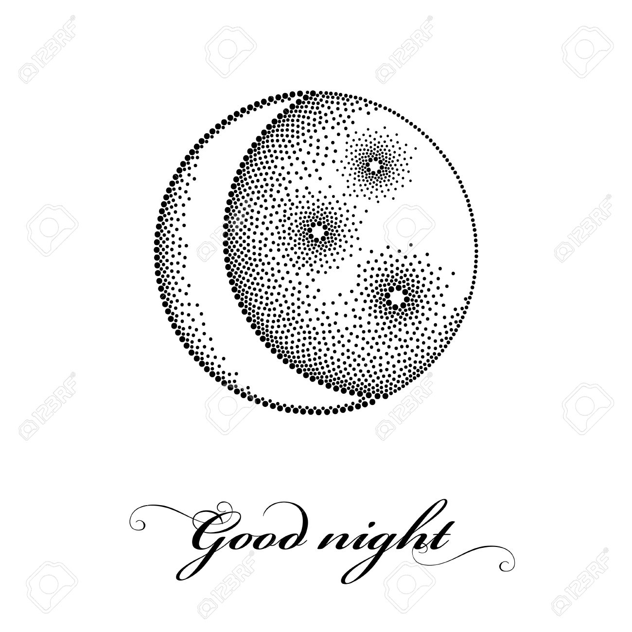 Vector Illustration With Dotted Stylized Half Moon With Star