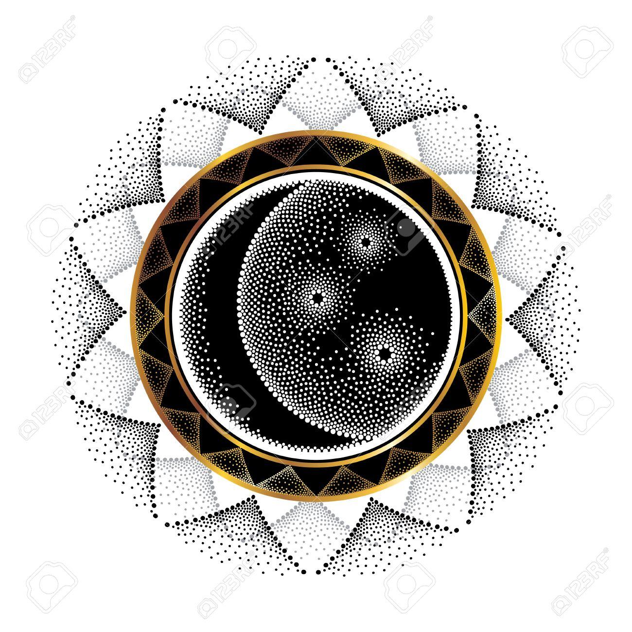 Illustration Vectorielle Avec Demi Lune Pointillee Etoile Et Cadre Rond Ornement En Noir Et Or Isole Sur Fond Blanc Symboles Stylises En Style