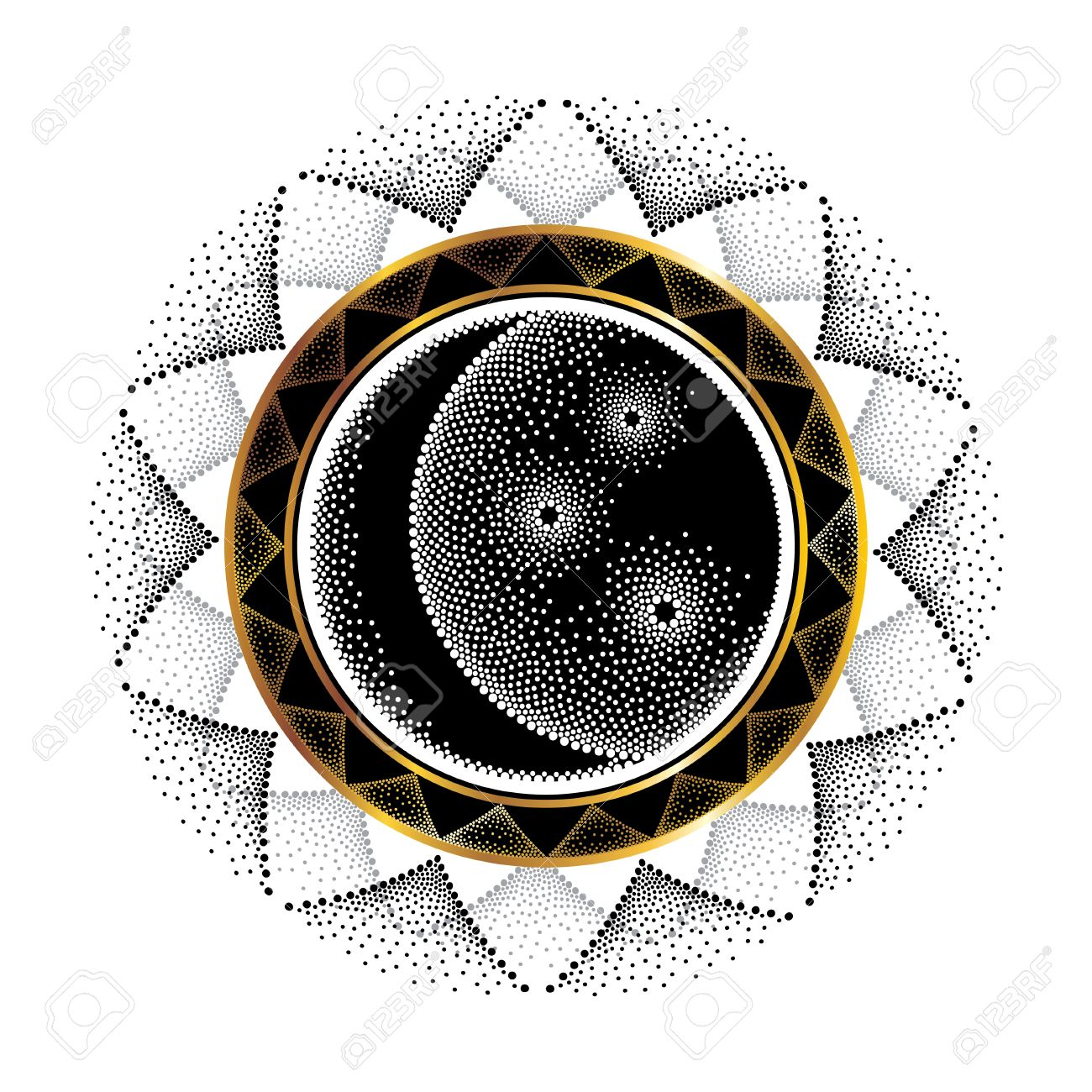 Vector illustration with dotted half moon star and ornamental vector illustration with dotted half moon star and ornamental round frame in black and gold biocorpaavc