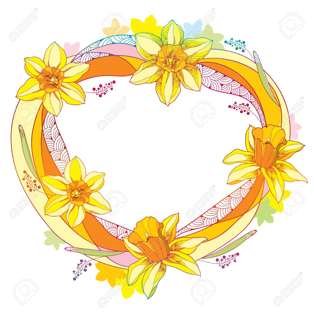 Vector Round Frame With Outline Narcissus Or Daffodil Flower