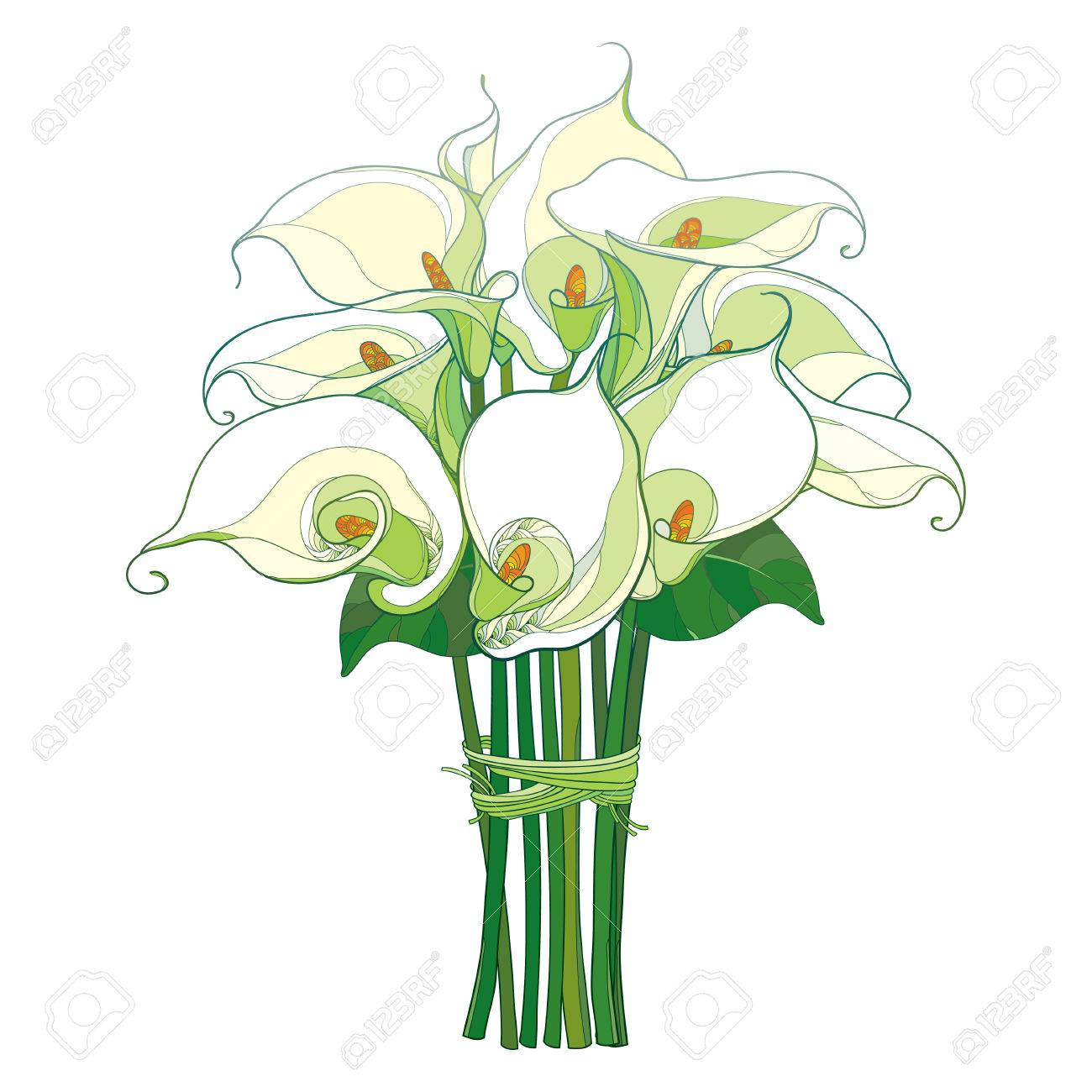 Bouquet With Calla Lily Flower With Green Leaves In Pastel Color
