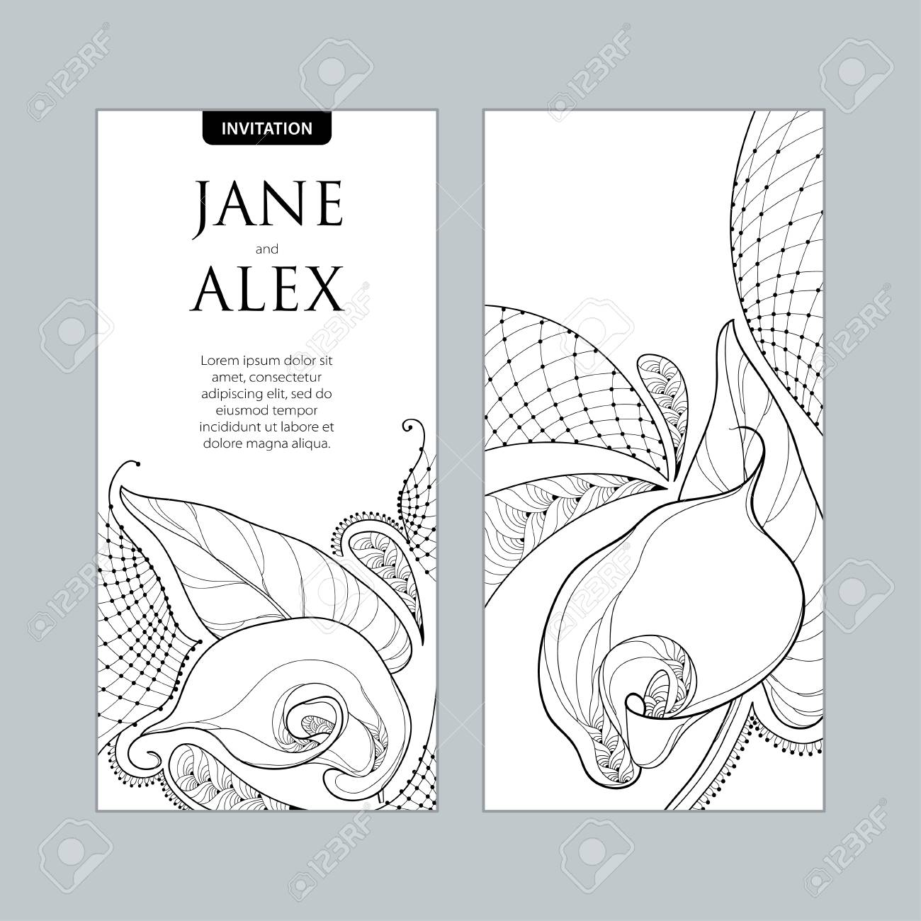 wedding invitation with outline bouquet calla lily flower or