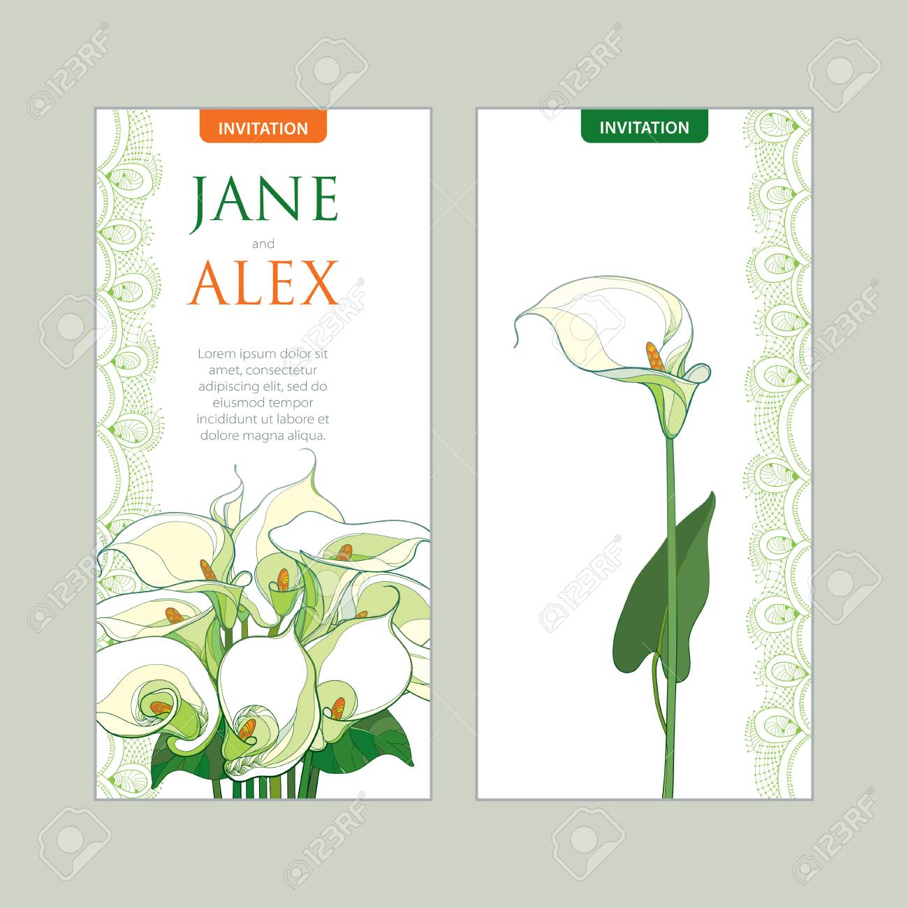 Wedding Invitation With Outline Bouquet Calla Lily Flower Or ...