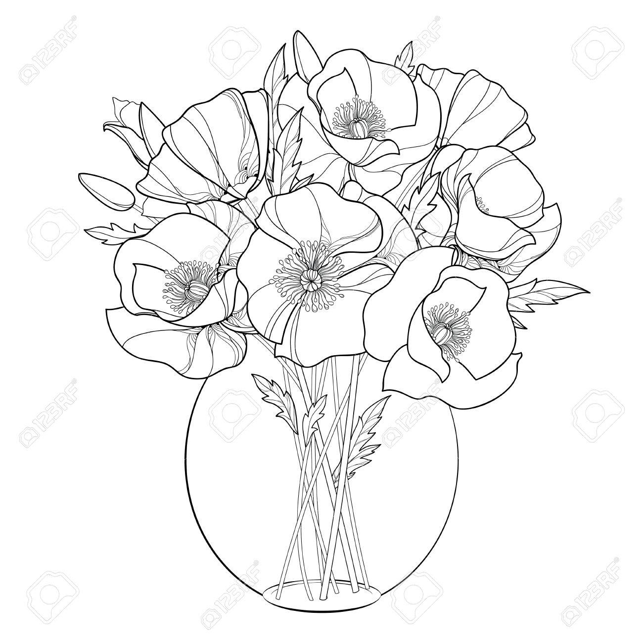 Outline picture of bouquet flowers djiwallpaper bouquet with outline poppy flower in the round transpa vase izmirmasajfo