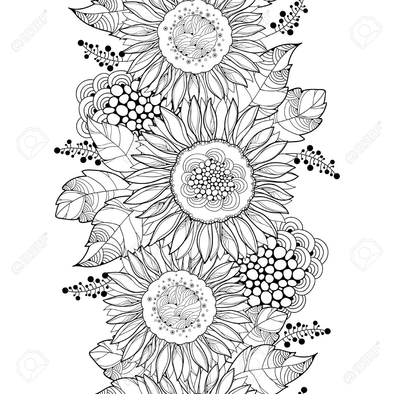 概要とシームレスなパターンはヒマワリやヒマワリの花白い背景の上の