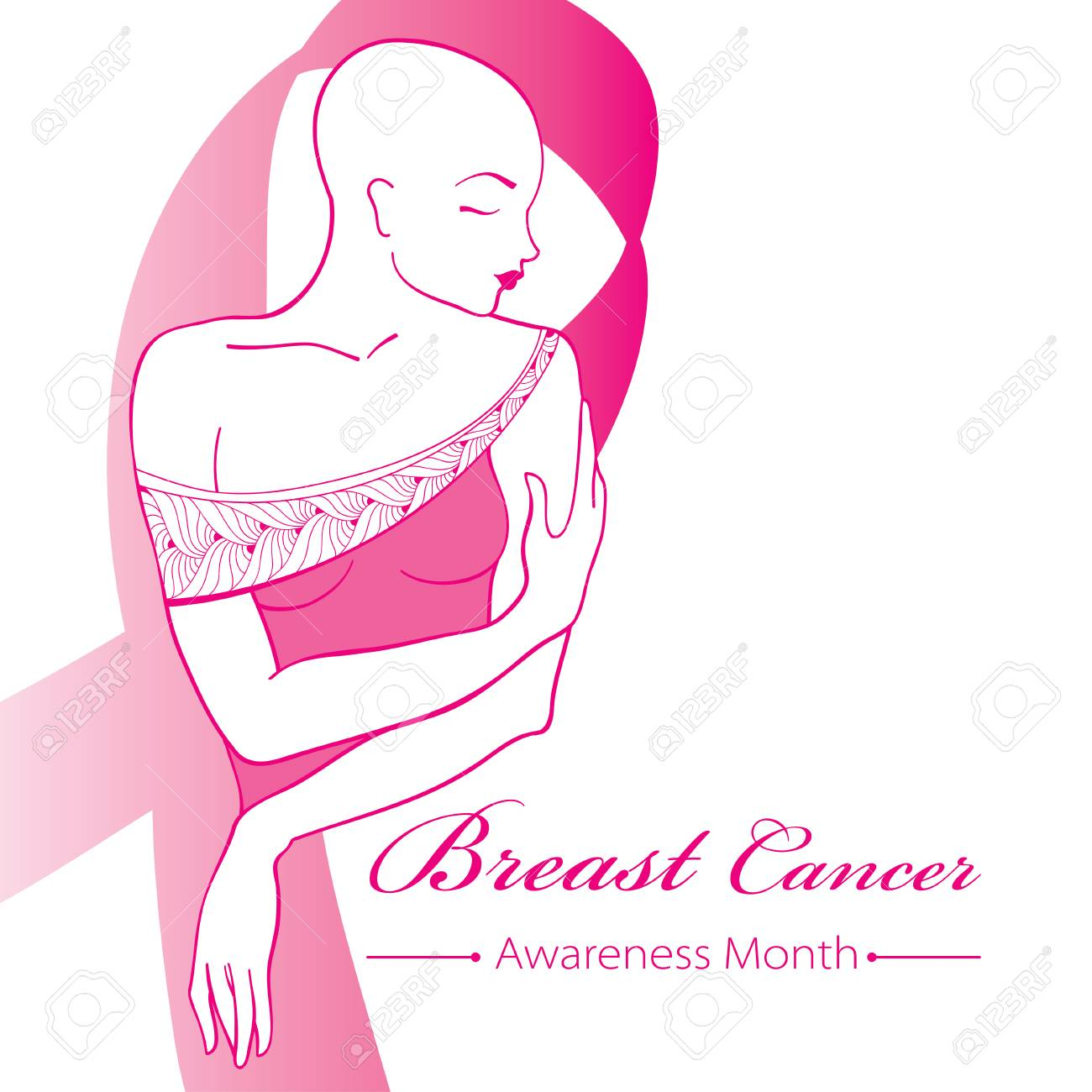 Drawing bald woman after chemotherapy with pink ribbon isolated drawing bald woman after chemotherapy with pink ribbon isolated on white background breast cancer awareness biocorpaavc Choice Image