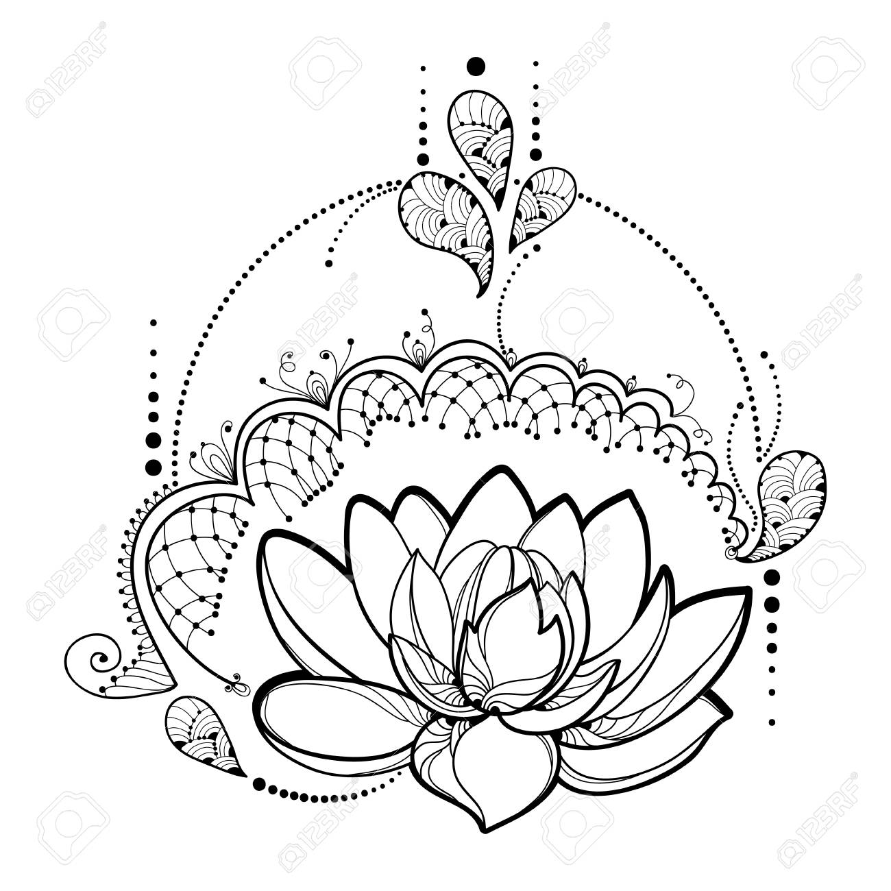 Drawing With Outline Lotus Flower Decorative Lace And Swirls In Black Isolated On White Background