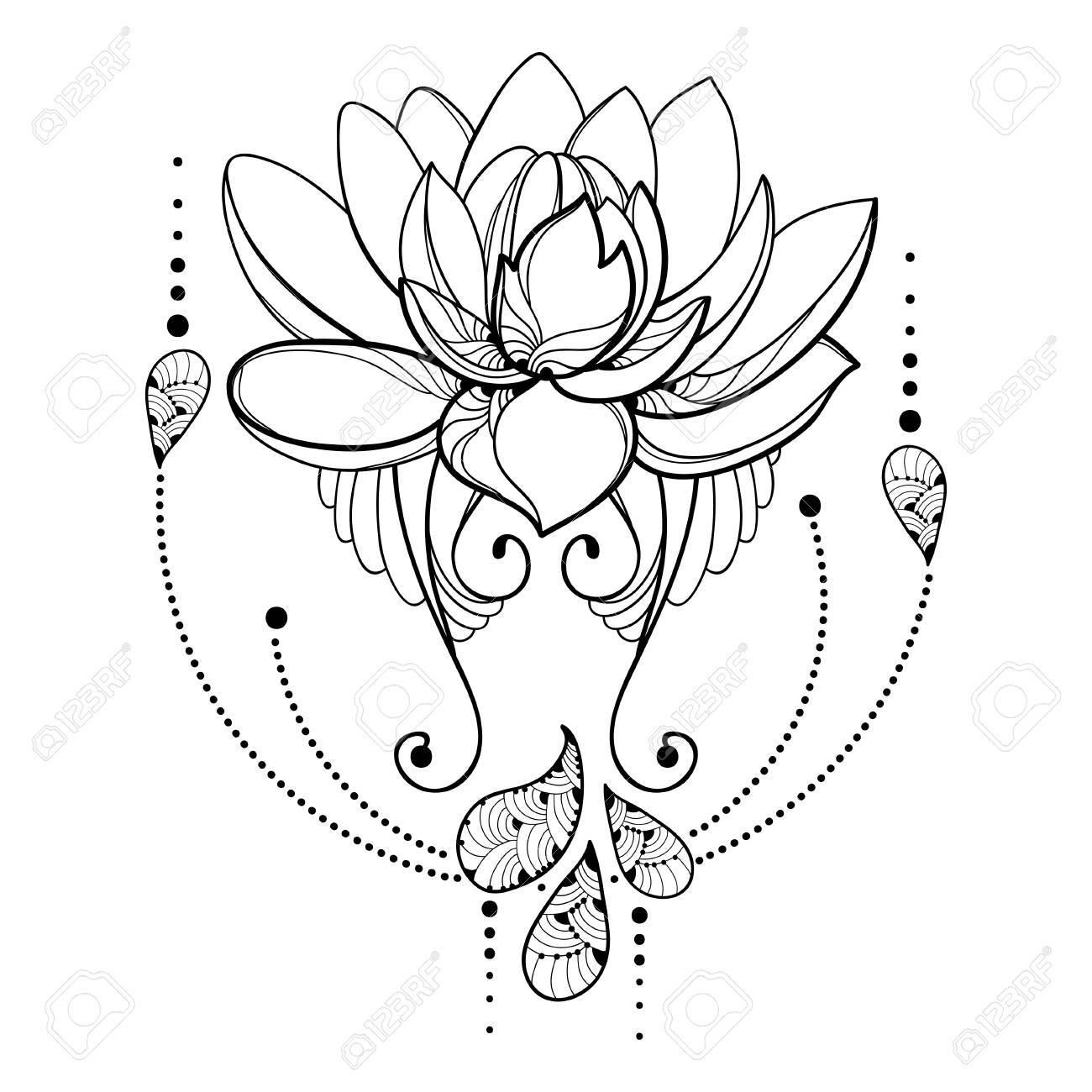 Dessin Avec Contour Fleur De Lotus Dentelle Décorative Et Tourbillons En Noir Isolé Sur Fond Blanc Composition Abstraite Florale Avec Lotus Orné