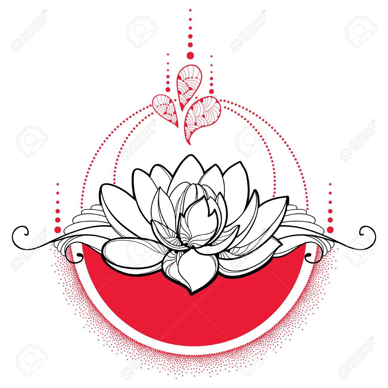 Dessin Avec Contour Noir Fleur De Lotus Points Rouges Et Tourbillons Isolés Sur Fond Blanc Composition Ronde Florale Avec Lotus Fleuri Dans Le Style