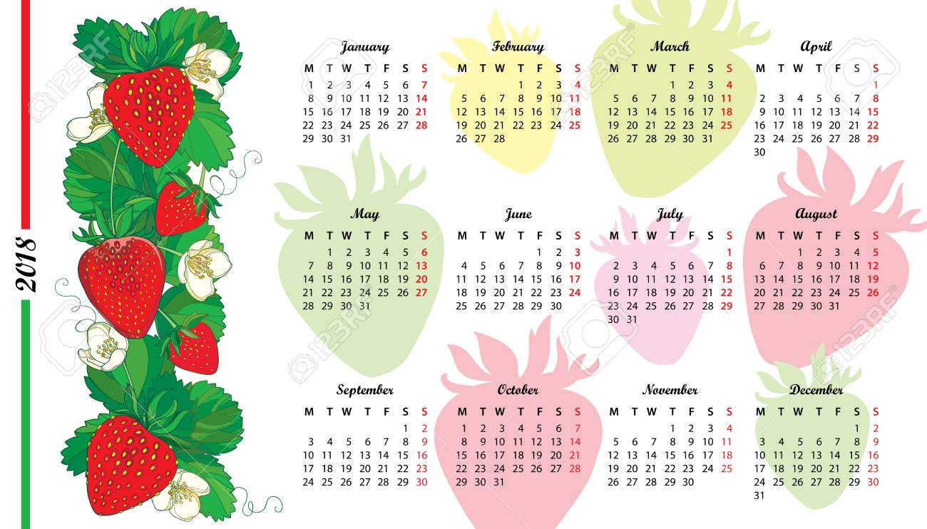 Wall calendar for 2018 year with outline red Strawberry, flower