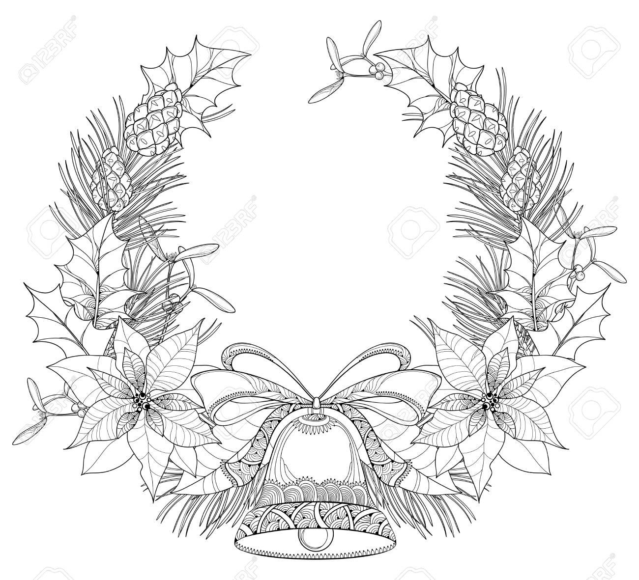 Guirnalda Con Flores De Poinsettia De Contorno, Bayas De Acebo ...