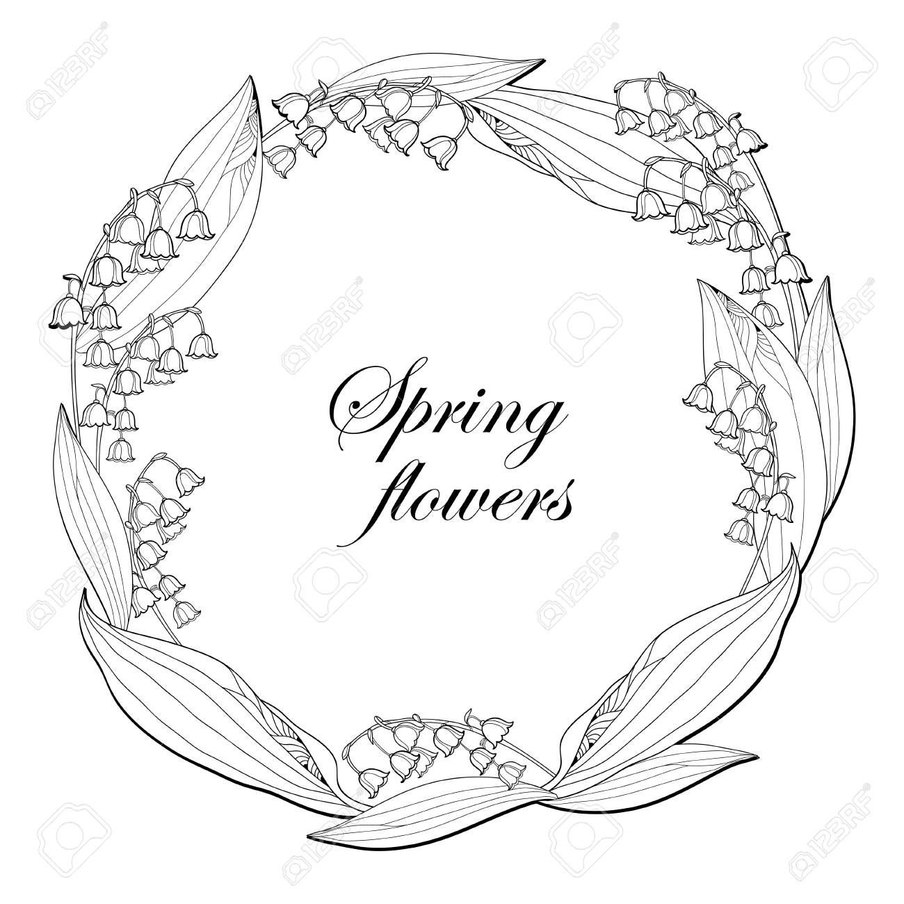 Valley Drawing Outline Wiring Diagrams Electric Motors Ge Instant Reverse Motor C1459 Screw Driver Round Wreath With Lily Of The Or Convallaria Flower Rh 123rf Com Drawings