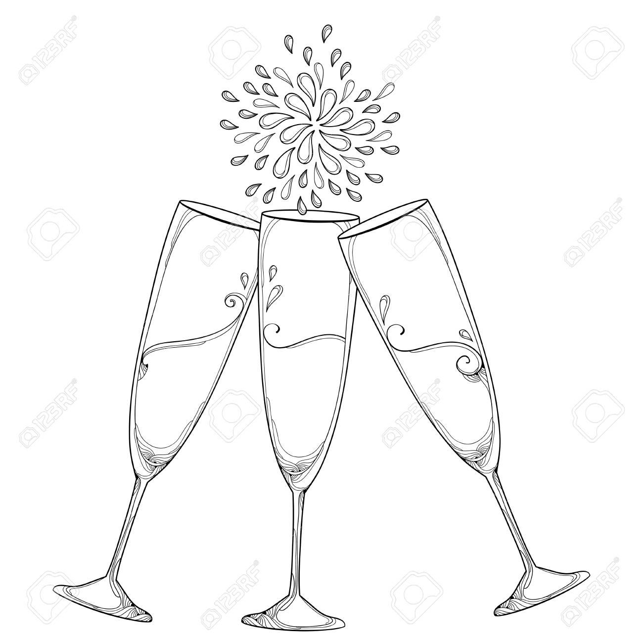 Dibujo Con Tres Esquema Tostado Copas De Champán O Flauta En Negro Sobre Fondo Blanco Vidrio Para Vino Y Bodega En Estilo De Contorno Para El Diseño