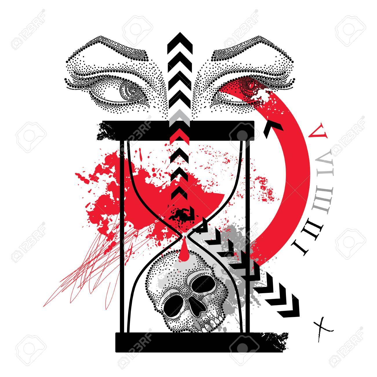Dessin Pointillé Crâne Yeux De Femme Flèche Abstraite Et Sablier En Rouge Et Noir Isolé Sur Fond Blanc Croquis Pour Le Flash De Tatouage Dans Trash