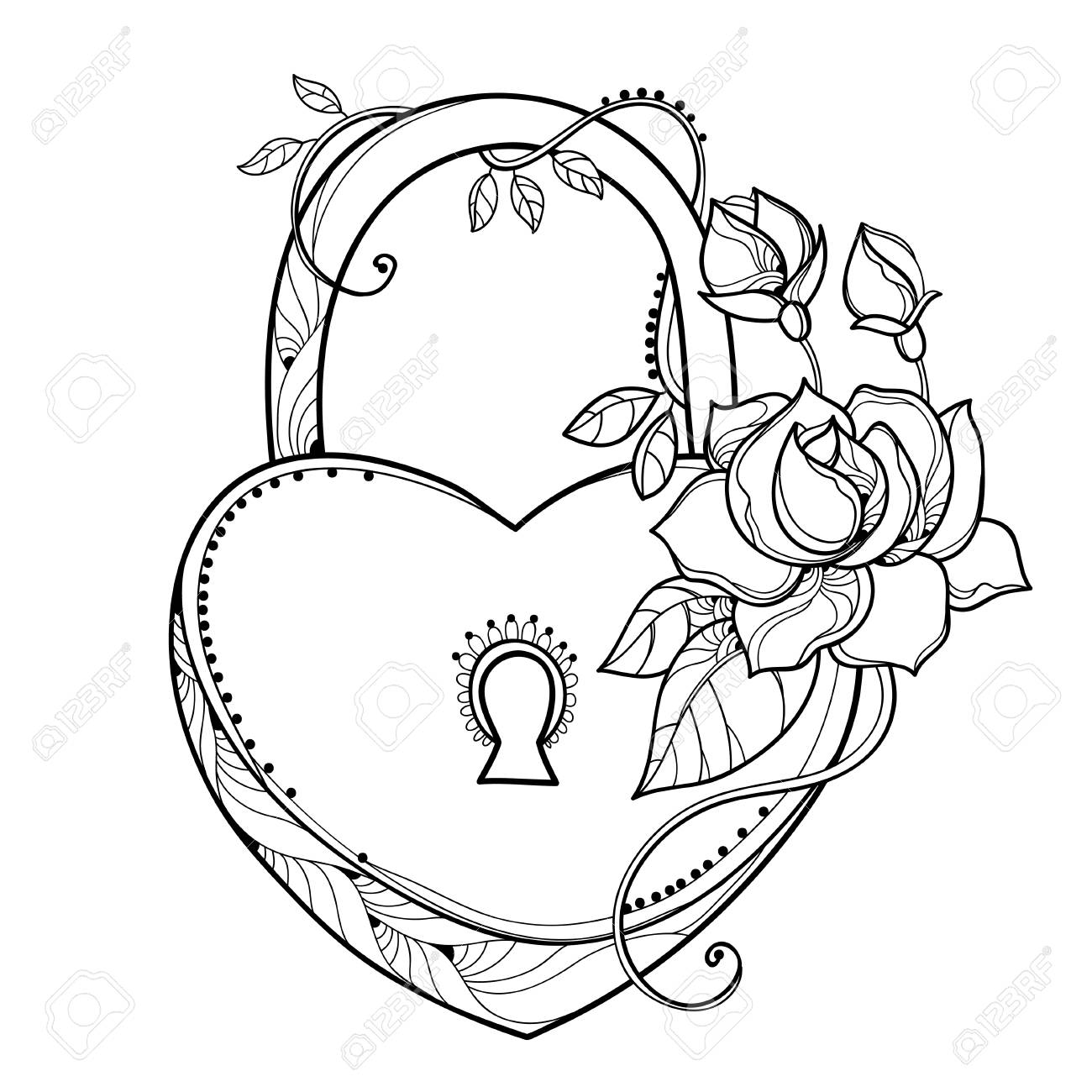 Drawing Of Lock Heart With Outline Ornate Roses Leaf And Bud Royalty Free Cliparts Vectors And Stock Illustration Image 93416055
