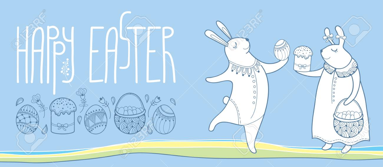 Happy easter horizontal greeting card with outline easter rabbit happy easter horizontal greeting card with outline easter rabbit couple and traditional easter symbol isolated on m4hsunfo