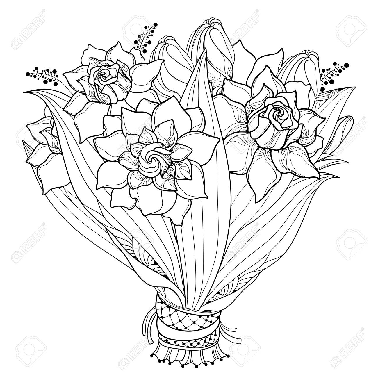 Bride Bouquet With Outline Gardenia Flower Bud And Ornate Leaf