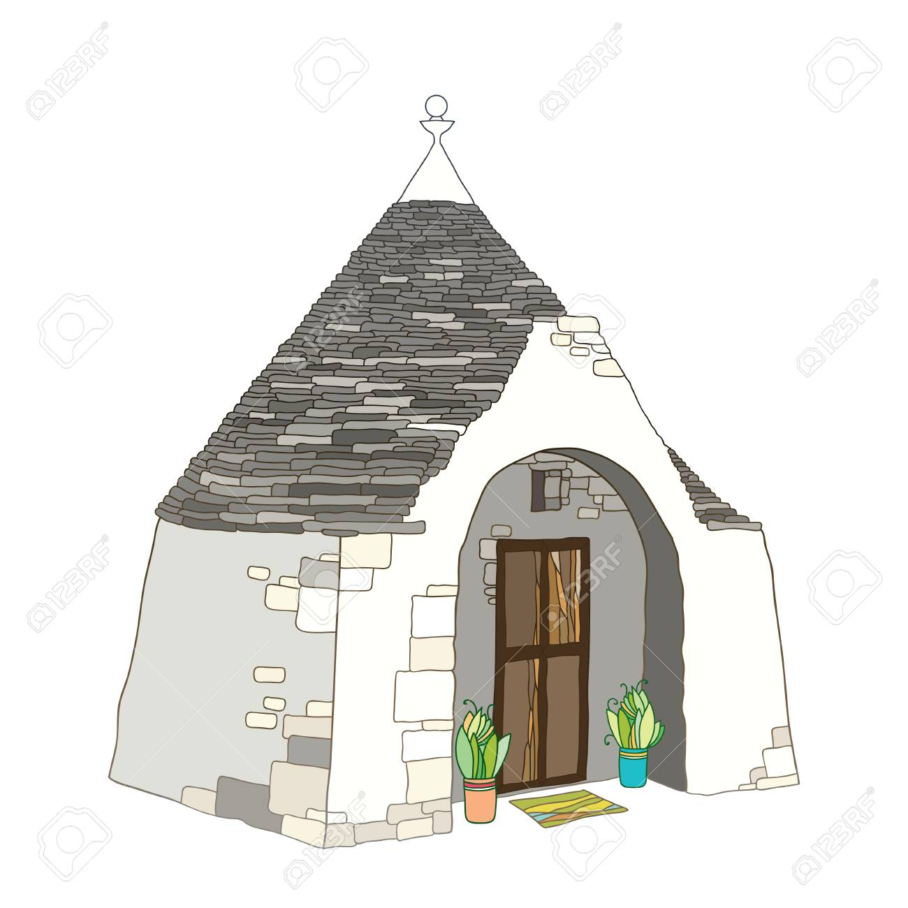 Outline drawing of Trulli or Trullo house with round conical roof in pastel colors isolated on white background. Ornate traditional Trulli of Alberobello in contour style. - 101073969