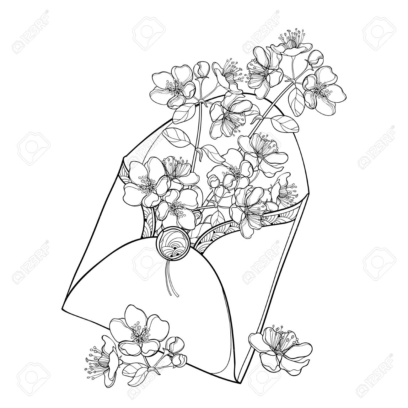 Bouquet with outline blooming apple flower bunch in black in bouquet with outline blooming apple flower bunch in black in open craft envelope isolated on white izmirmasajfo