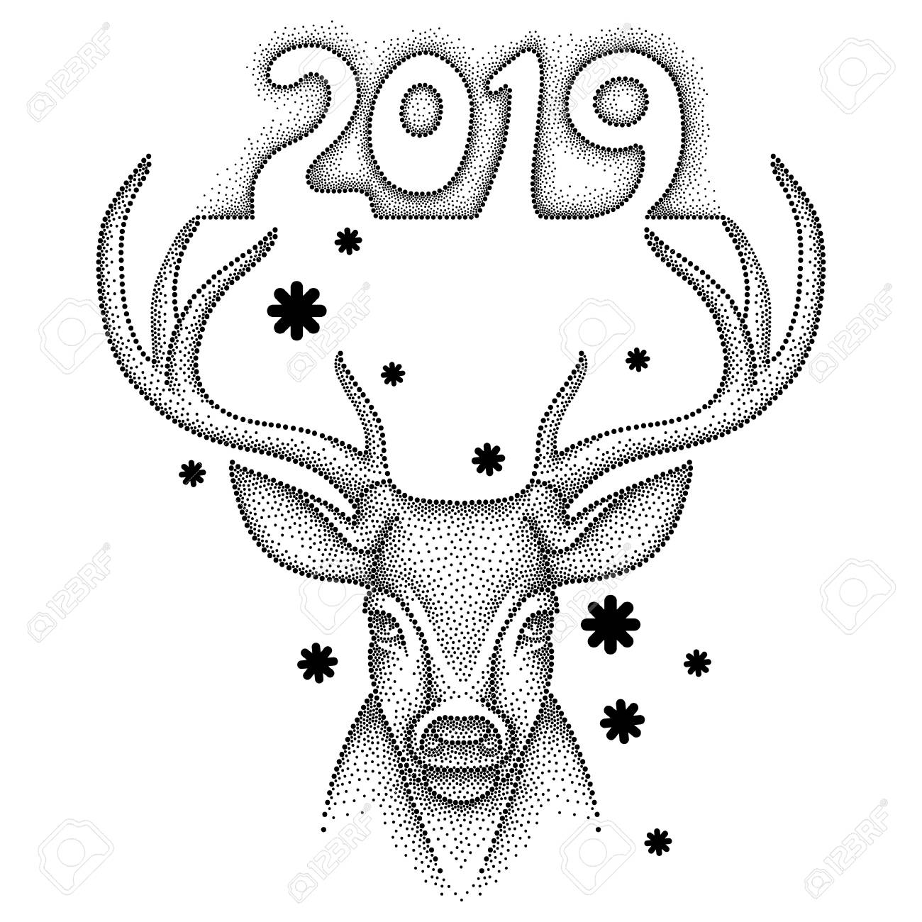 Drawing With Deer Number 2019 Animal In Dotwork Or Pointillism