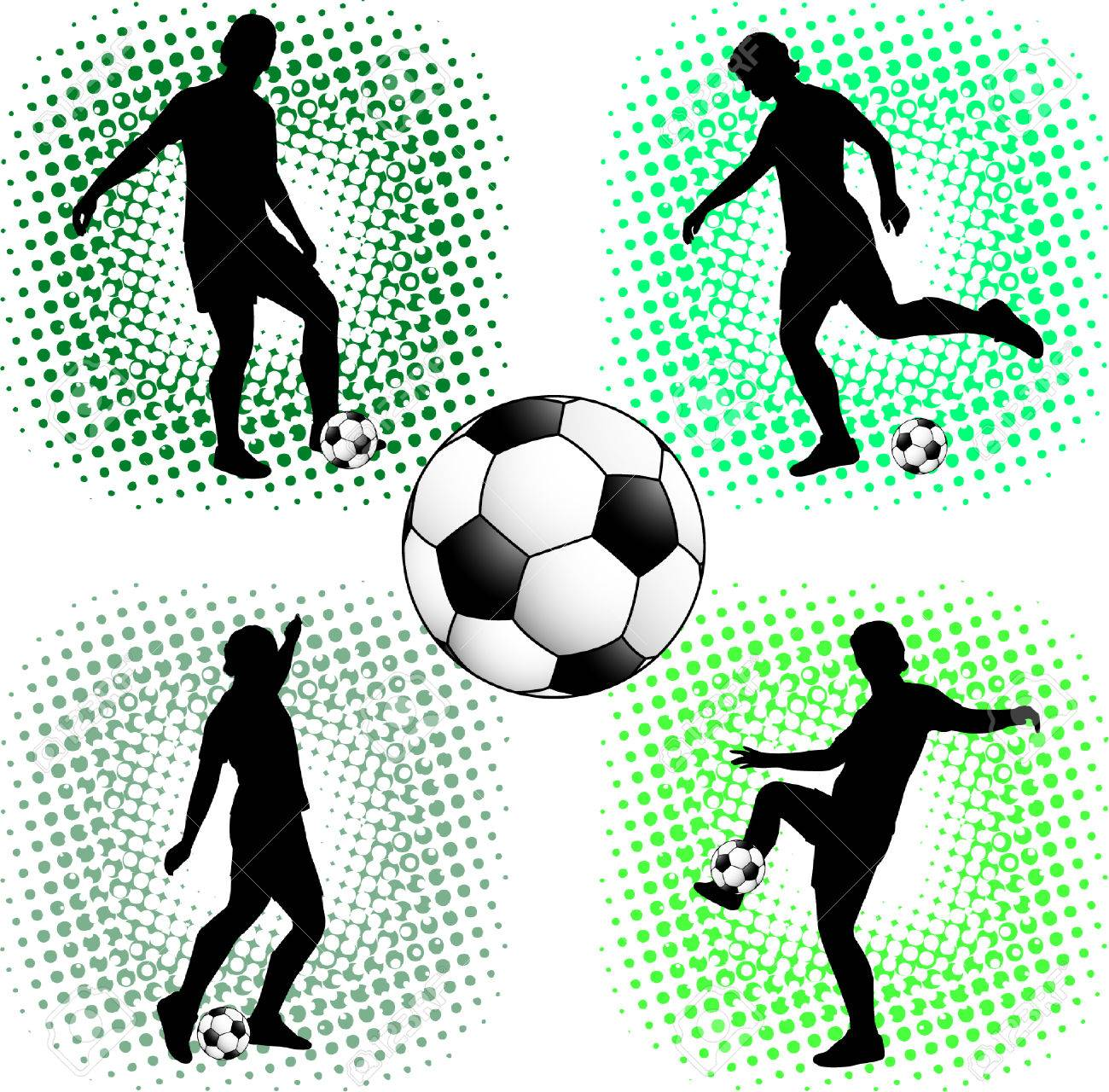 soccer players silhouettes - 6039600