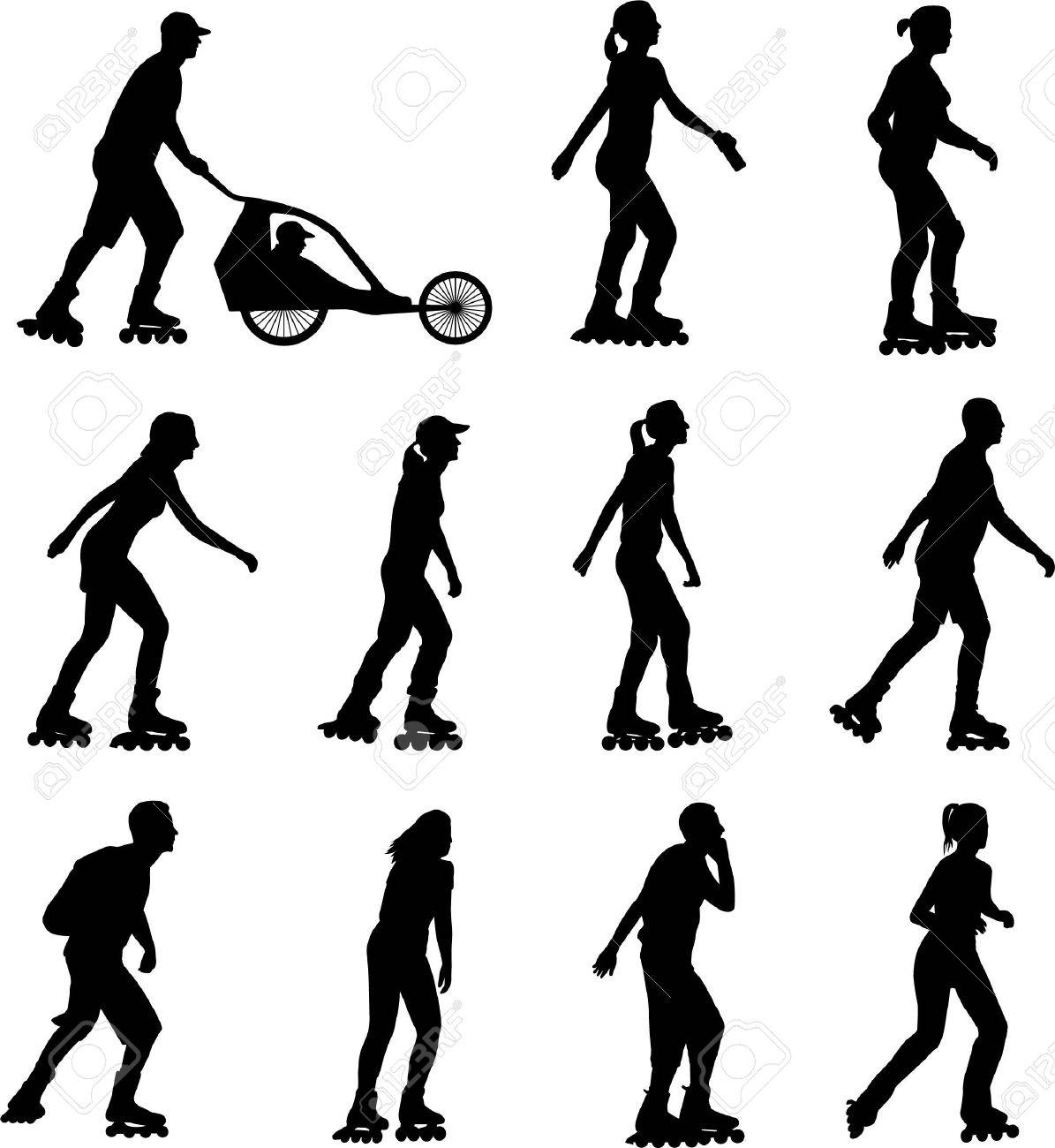 rollerskating silhouettes - vector - 9229509