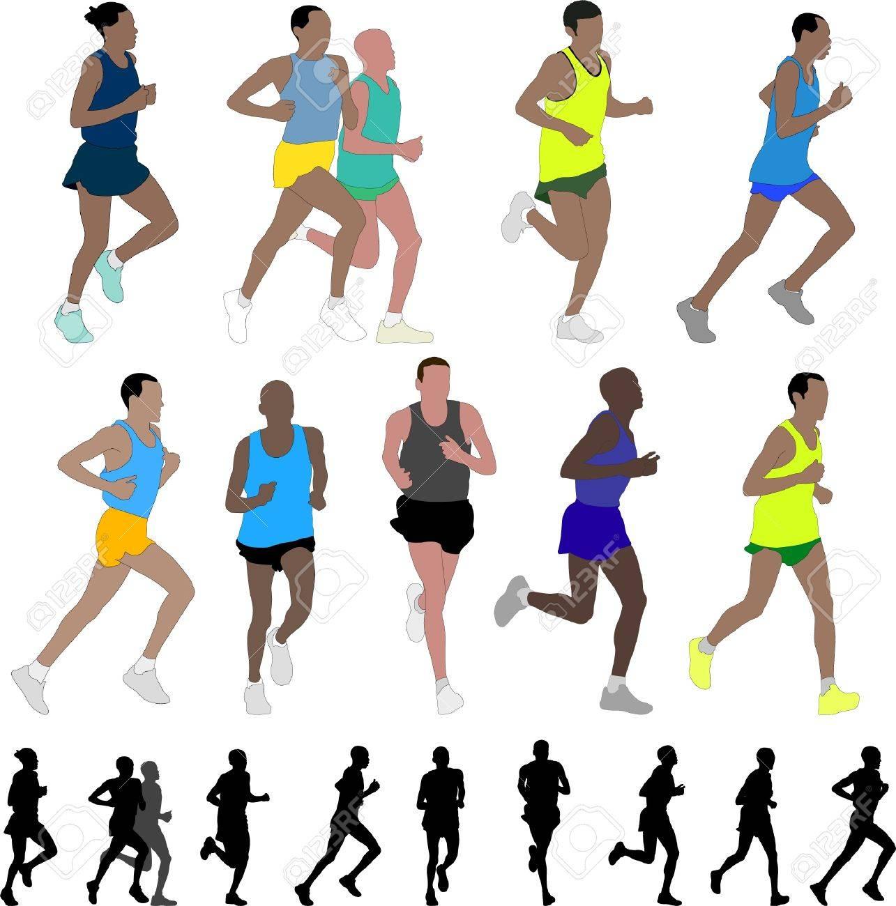 Marathon Runners Stock Vector