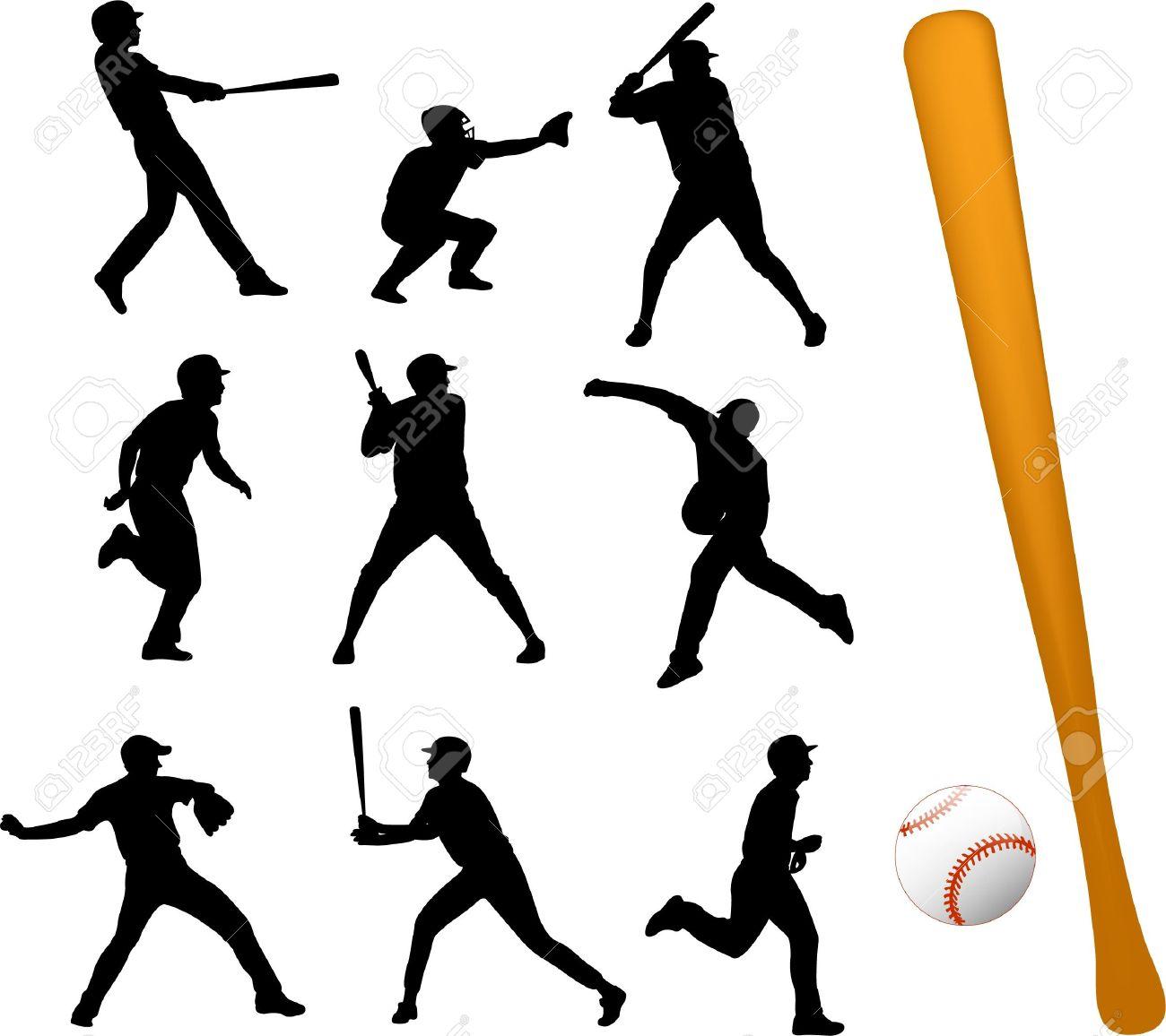 baseball players silhouettes - 9476468