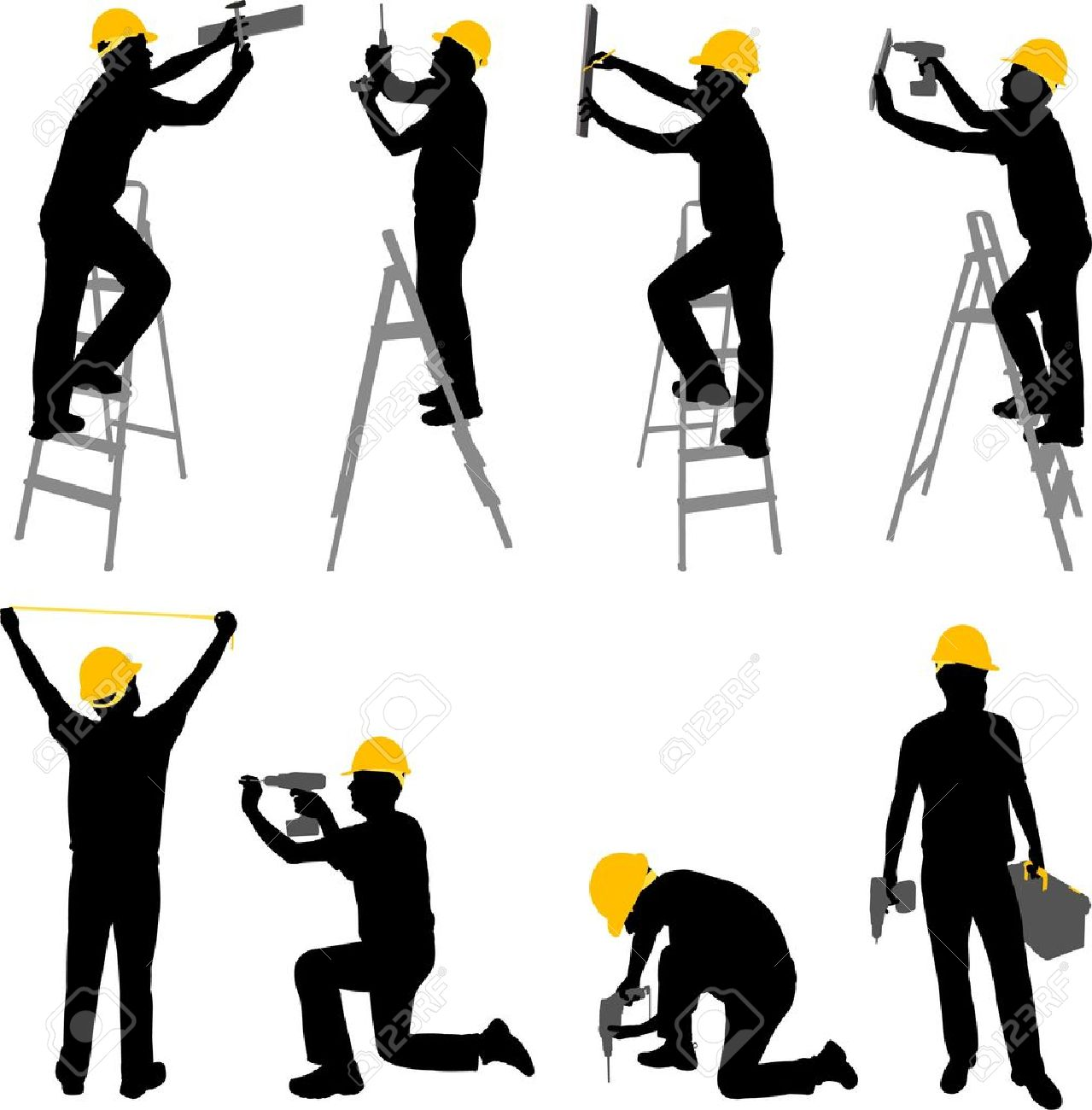 construction workers silhouettes - vector - 11640162