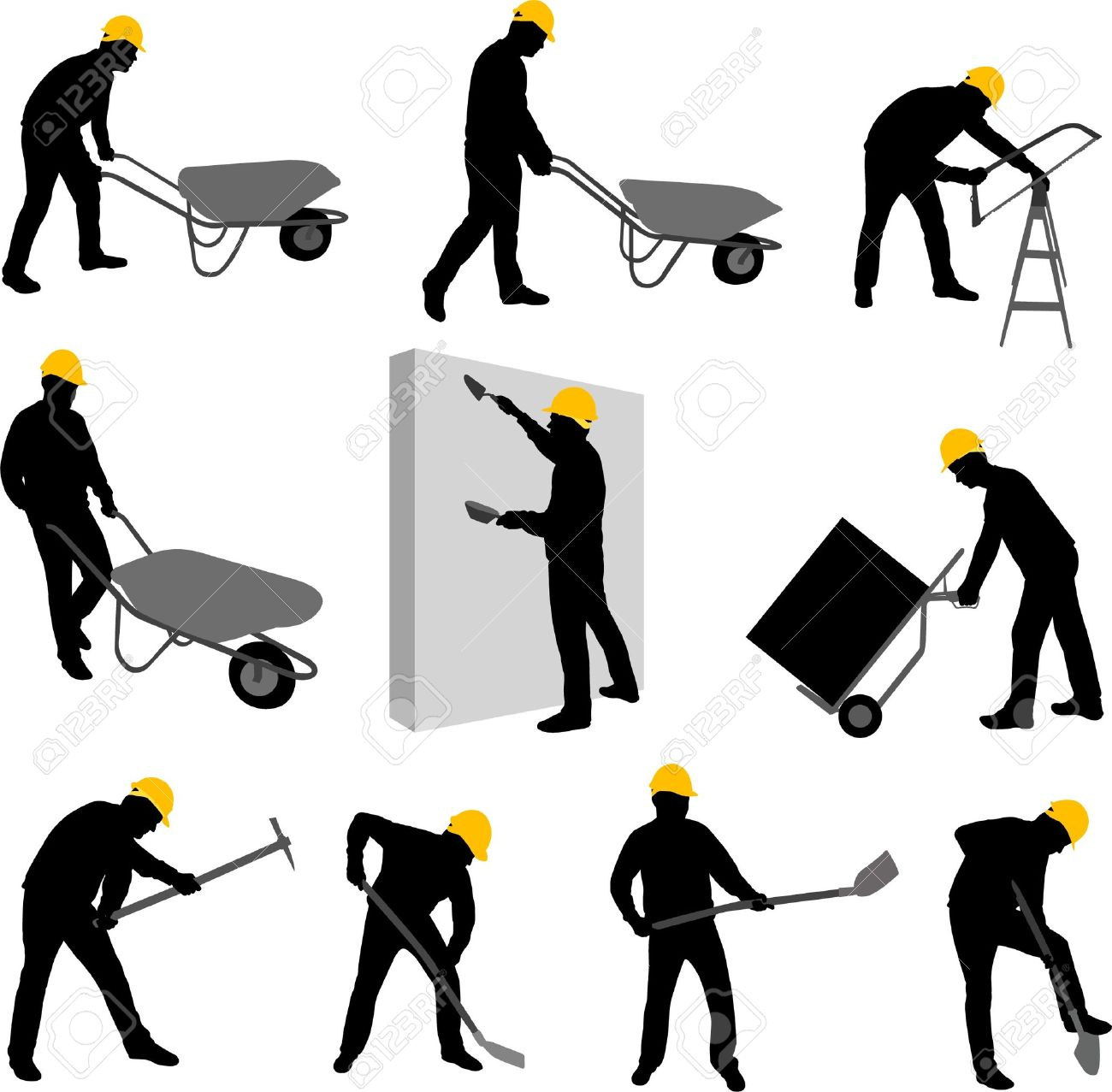 construction workers silhouettes 2 - vector - 11663881