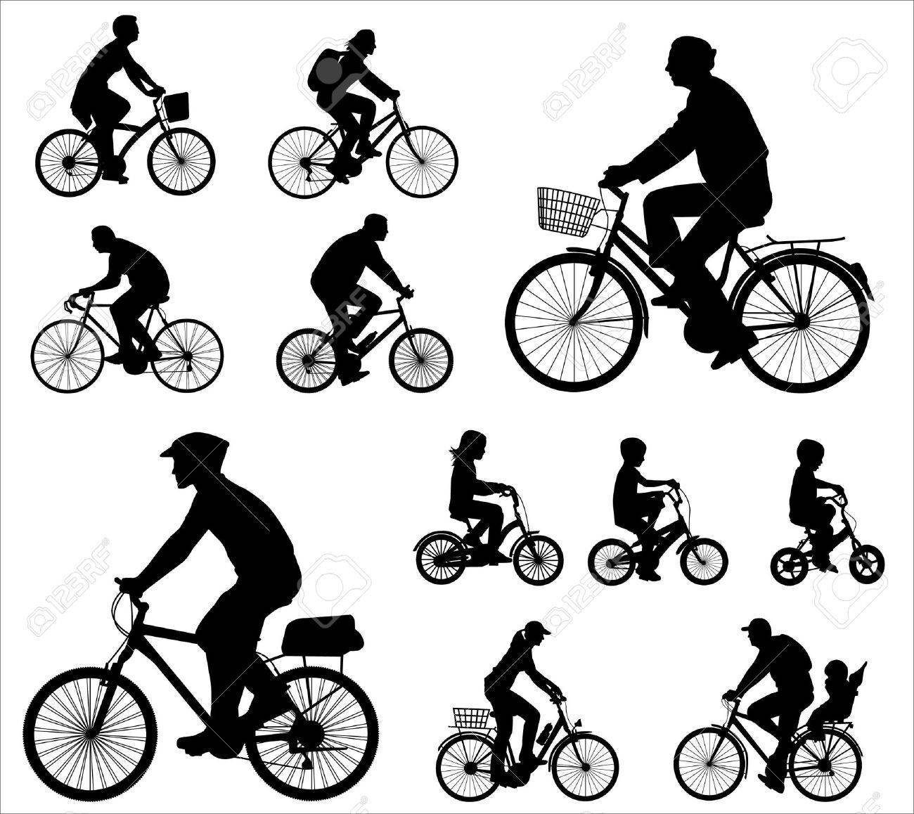 bicyclists silhouettes collection - 12247798