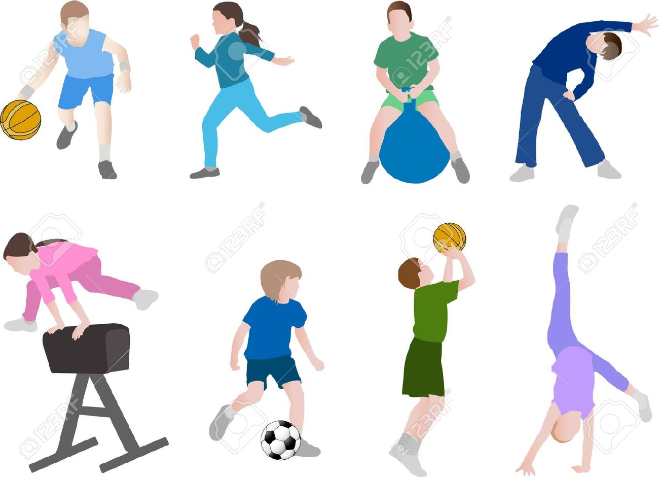 kids exercise children sport vector illustration - Exercise Pictures For Kids