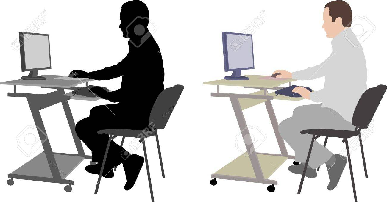 man sitting in front of computer - vector - 12486591