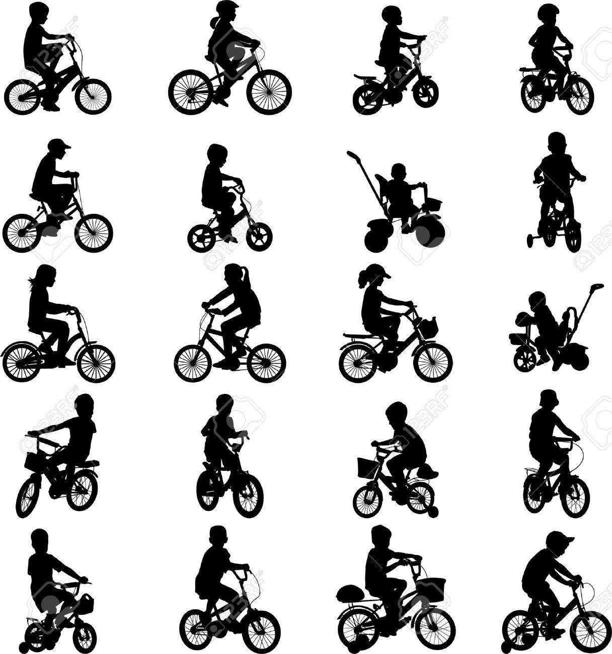 children riding bicycles silhouettes - 13103926