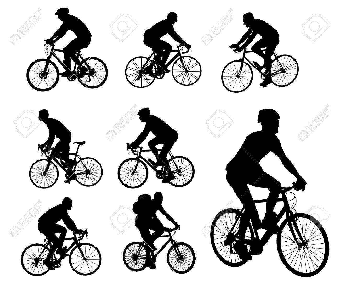 bicyclists silhouettes collection Stock Vector - 13459828