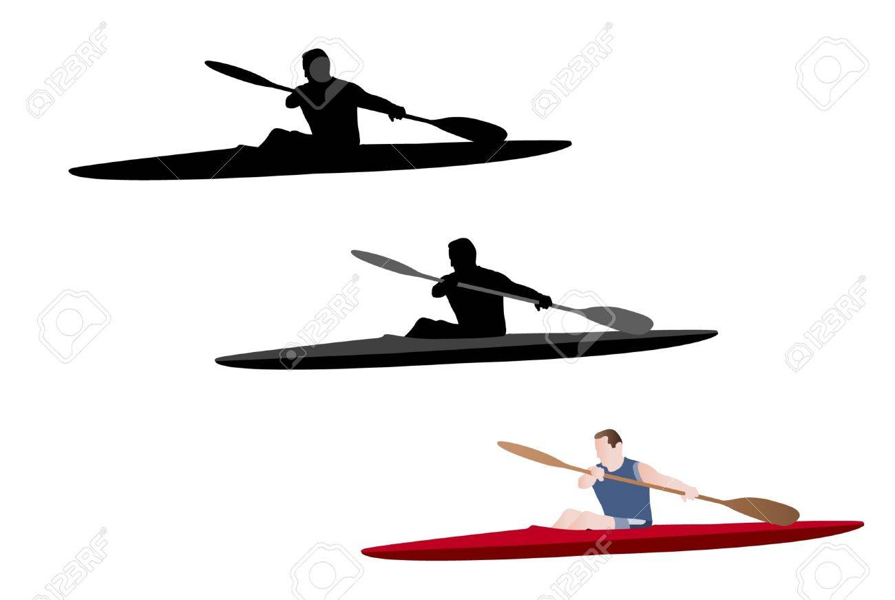 kayaking silhouette and illustration - 16520665