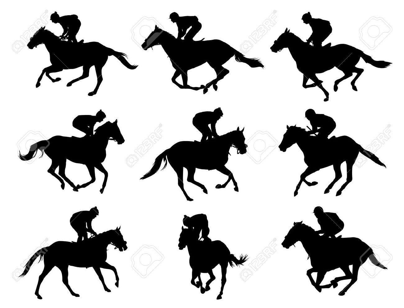Racing Horses And Jockeys Silhouettes Royalty Free Cliparts Vectors And Stock Illustration Image 20626623