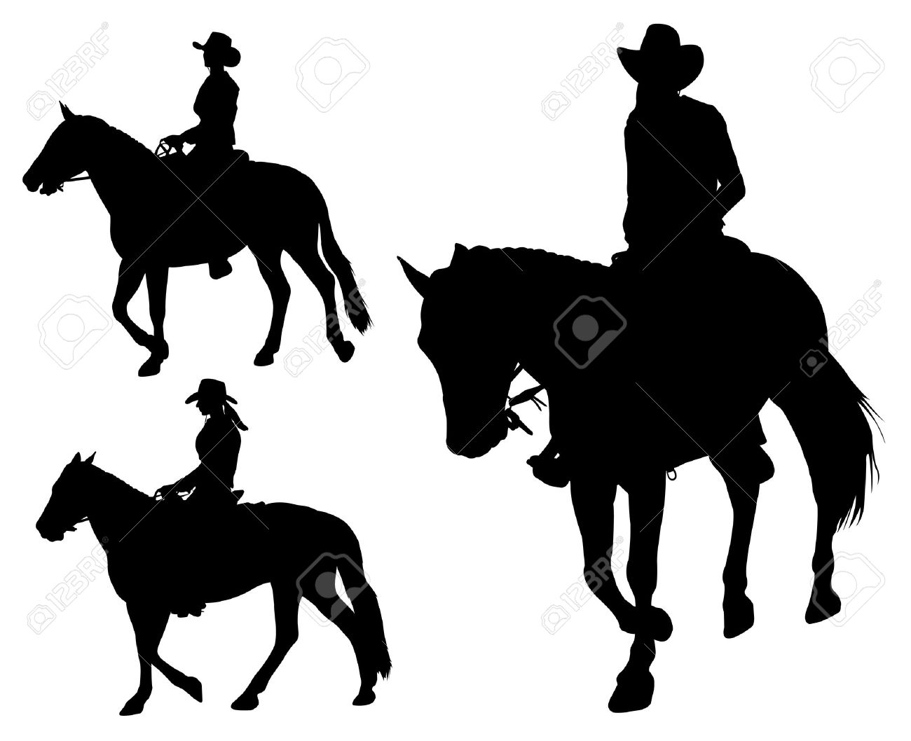 cowgirl riding horse silhouettes - 20626624