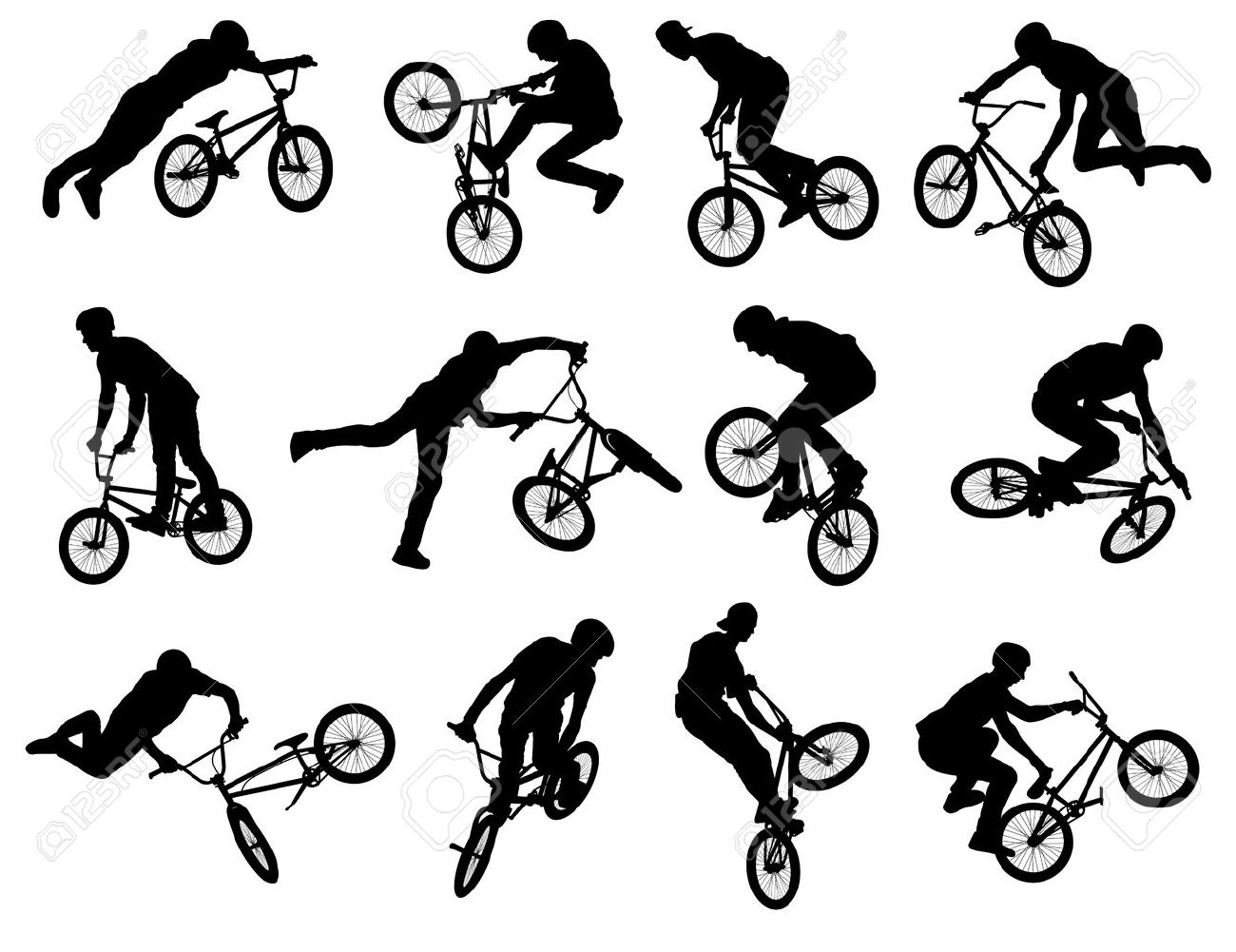12 high quality silhouettes of BMX stunt cyclist - 21967731